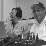 Streaming media pioneer Dave Blackburn (at right) with the ISC's first play-by-play man, Ron Chambers in the early days.