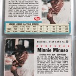 Minnie Minoso baseball cards, 1960 and 1961 (Click to enlarge)